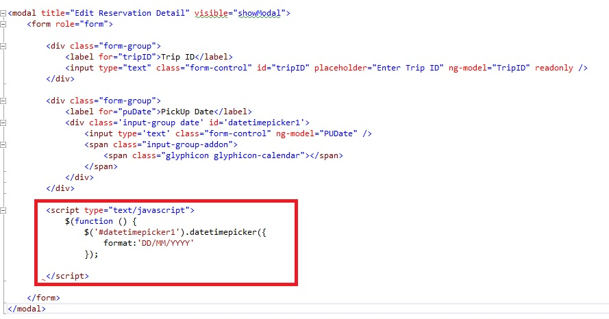 AngularJS: Bootstrap Datepicker not working inside bootstrap